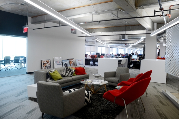 Square trade s open plan space for Square office design